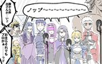 3girls 5girls ahoge archer armor artoria_pendragon_(all) assassin_(fate/stay_night) bare_shoulders berserker blindfold blonde_hair blue_hair brown_hair caster chibi cloak collar commentary_request crossed_arms fate/grand_order fate/stay_night fate_(series) gauntlets gilgamesh juliet_sleeves karasaki keikenchi_(style) koha-ace lancer long_hair long_sleeves microphone multiple_girls no_nose nose_bubble oda_nobunaga_(fate) partially_translated pointy_ears puffy_sleeves purple_hair rider saber short_hair sketch sleeping translation_request white_hair
