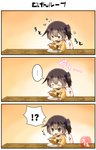 !? ... 1girl 3koma absurdres artist_name blush brown_eyes brown_hair closed_eyes comic commentary curry curry_rice eating eyebrows_visible_through_hair food food_on_face hair_between_eyes highres holding holding_spoon japanese_clothes kaga_(kantai_collection) kantai_collection long_sleeves motion_lines open_mouth rice short_hair side_ponytail solo speech_bubble spoken_ellipsis spoon taisa_(kari) translated