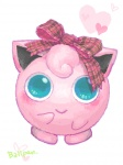 :> aqua_eyes artist_request blush bow clothed_pokemon gen_1_pokemon hair_bow heart jigglypuff no_humans pink pokemon pokemon_(creature) ribbon simple_background white_background