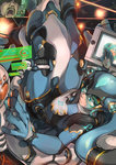 1girl bangs black_hair blue_bodysuit blue_boots blue_eyes bodysuit boots breasts cable cockpit commentary_request drawing_tablet elbow_gloves full_body gloves hair_ornament hair_tie hatsune_miku helmet highres holding holding_pen holographic_interface holographic_touchscreen knee_pads long_hair looking_back mecha nose open_mouth original perspective pilot pilot_suit science_fiction sitting solo somehira_katsu stylus twintails vocaloid