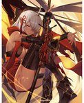 1girl ahoge arm_guards armored_boots black_bow boots bow breasts cleavage crossed_legs dark_skin fate/grand_order fate_(series) hair_between_eyes hair_bow hair_ornament hair_over_one_eye highres holding holding_weapon knees_to_chest knees_up large_breasts long_hair okita_souji_(alter)_(fate) okita_souji_(fate)_(all) orangesekaii red_scarf scarf silver_hair sitting solo sweat tassel tied_hair weapon yellow_eyes