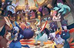 braixen chandelure crobat eye_contact frillish frillish_(female) frillish_(male) gallade gardevoir gen_1_pokemon gen_2_pokemon gen_3_pokemon gen_4_pokemon gen_5_pokemon gen_6_pokemon gengar giratina giratina_(altered) gothitelle halloween hoothoot joltik kricketune legendary_pokemon litwick looking_at_another lopunny lucario masquerade mega_gallade mega_gardevoir mega_pokemon meloetta meloetta_(aria) misdreavus murkrow no_humans official_art phantump pokemon pokemon_(creature) sneasel zubat