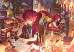 2boys book bookshelf candle chair couch cross cup elsword elsword_(character) gem highres letter lord_knight_(elsword) map multiple_boys music_box paper quill red_eyes red_hair rune_slayer_(elsword) runes scorpion5050 shoulder_armor tattoo tea teacup