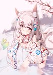 1girl :o absurdres animal animal_ear_fluff animal_ears bare_shoulders bell blurry blurry_background blurry_foreground blush breasts cleavage commentary_request covered_nipples depth_of_field detached_sleeves dress fingernails fish flower fox_ears fox_girl fox_tail grey_hair hair_bell hair_flower hair_ornament highres holding holding_animal jingle_bell long_hair long_sleeves looking_at_viewer medium_breasts original parted_lips purple_eyes rose see-through sleeves_past_wrists solo standing tail tree_branch veil very_long_hair wading water wet wet_clothes white_dress white_flower white_rose white_sleeves yue_(qtxyjiang)