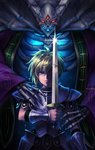 2boys armor blonde_hair blue_eyes bracer breastplate commentary_request dark_persona demon dyluck faulds glowing glowing_eyes height_difference holding holding_sword holding_weapon lich mind_control multiple_boys one_eye_covered pauldrons primm red_eyes reflection ribs seiken_densetsu seiken_densetsu_2 shimeji_(simejigesyu) spoilers sword thanatos_(seiken_densetsu) third_eye weapon
