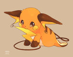 arm_support beige_background biting full_body gen_1_pokemon grey_eyes hideko_(l33l3b) looking_at_viewer lying no_humans on_stomach pokemon pokemon_(creature) raichu signature simple_background tail tail_biting tears