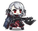 1girl alternate_costume animated animated_gif armor armored_dress bangs belt black_pupils black_ribbon blood blood_drip bloody_clothes bloody_weapon blush_stickers braid breastplate breasts character_name corset crazy_eyes flag full_body girls_frontline gloves glowing glowing_eyes gradient_hair greaves grey_hair gun holding holding_gun holding_weapon large_breasts laughing long_hair looking_afar lowres multicolored_hair namesake official_art plate_armor pouch red_eyes red_hair ribbon saru shield shotgun shotgun_shells sidelocks silver_hair simple_background smile solo spas-12 spas-12_(girls_frontline) torn_clothes twintails weapon white_background