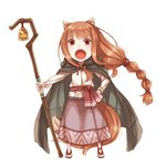 1girl animal_ears ayakura_juu bell braid brown_cape brown_hair chibi eyebrows_visible_through_hair fang full_body hand_on_hip holding holding_staff holo long_hair long_skirt looking_at_viewer low-tied_long_hair novel_illustration official_art open_mouth ponytail purple_skirt red_eyes shepherd shirt simple_background single_braid skirt solo spice_and_wolf staff standing tail very_long_hair white_background white_shirt wolf_ears wolf_tail