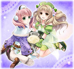2girls atelier_(series) atelier_ayesha atelier_escha_&_logy ayesha_altugle blonde_hair blue_background bow braid brown_eyes dress escha_malier flower food green_eyes green_skirt hair_flower hair_ornament hat long_hair multiple_girls nonoji_(oishi_kenko) pantyhose pink_hair pot ribbon sandals shoes short_hair sitting skirt smile twintails wariza white_legwear