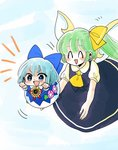 2girls :d >:d ^_^ absurdres blue_bow blue_dress blue_eyes blue_hair blue_skirt blue_vest bow cirno closed_eyes commentary daiyousei dress fairy_wings flower flying green_hair hair_bow highres komaku_juushoku minigirl morning_glory multiple_girls open_mouth outstretched_arms pink_flower puffy_short_sleeves puffy_sleeves short_sleeves side_ponytail skirt smile sunflower touhou vest wings yellow_bow