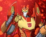 1boy artist_request autobot blue_eyes commentary_request highres insignia looking_at_viewer machinery no_humans red_background rodimus smile solo thumbs_up transformers