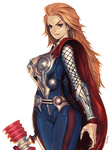 1girl alien1452 armor blonde_hair blue_eyes breasts cape genderswap genderswap_(mtf) hammer large_breasts long_hair marvel piko_piko_hammer solo squeaky_mallet thor_(marvel)