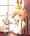 1girl :p absurdres animal_ear_fluff animal_ears animal_ears_(artist) banana_slice bare_shoulders blonde_hair blueberry blush chocolate cocktail_umbrella commentary_request cream elbow_gloves eyebrows_visible_through_hair food fruit glass gloves head_on_hand highres ice_cream kemono_friends parfait print_gloves raspberry serval_(kemono_friends) serval_ears serval_print shirt short_hair sleeveless solo spoon strawberry tongue tongue_out wafer white_shirt yellow_eyes