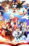 3girls 6+boys aqua_(kingdom_hearts) axel_(kingdom_hearts) black_coat black_hair blonde_hair blue_eyes blue_hair brown_hair castle clock clock_tower commentary_request disney donald_duck eating food goofy highres ice_cream kairi_(kingdom_hearts) kingdom_hearts kingdom_hearts_358/2_days kingdom_hearts_birth_by_sleep kingdom_hearts_ii looking_at_viewer multiple_boys multiple_girls open_mouth organization_xiii pinko_(inazume-panko) red_hair riku roxas smile sora_(kingdom_hearts) tagme terra_(kingdom_hearts) tower ventus white_hair xion_(kingdom_hearts)