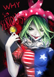 1girl absurdres american_flag american_flag_legwear american_flag_shirt batman_(series) blood blush clownpiece dc_comics fairy_wings green_eyes green_hair grin hat highres jester_cap knife long_hair open_mouth pale_skin polka_dot puchikya smile solo star the_dark_knight the_joker touhou why_so_serious wings