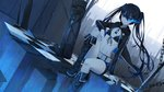 1girl arm_rest arm_support bangs bikini_top black_footwear black_hair black_hoodie black_rock_shooter black_rock_shooter_(character) black_shorts blue_eyes blurry blurry_foreground boots burning_eye chain checkered checkered_floor closed_mouth commentary_request depth_of_field dutch_angle expressionless fingernails flat_chest floating_hair front-tie_bikini front-tie_top hair_between_eyes highres hood hood_down hoodie ji_dao_ji knee_boots knee_up light_particles long_hair long_sleeves looking_away navel open_clothes open_hoodie pale_skin railing scar shorts sitting solo star stomach string_bikini twintails very_long_hair white_belt wind zipper_pull_tab