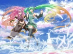 2girls boots cloud day detached_sleeves feathers gradient_hair green_eyes green_hair hatsune_miku headphones holding_hands isizuka_sam knee_boots long_hair megurine_luka multicolored_hair multiple_girls necktie open_mouth pink_hair skirt sky thigh_boots thighhighs twintails very_long_hair vocaloid