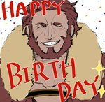 1boy armor beard birthday blush cape english_text facial_hair fate/zero fate_(series) fur_collar highres leather male_focus nazunazu_0 red_hair rider_(fate/zero) simple_background sketch smile teeth upper_body