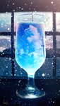 absurdres banishment blue_theme blurry building cloud commentary cup depth_of_field drinking_glass highres huge_filesize light_particles no_humans original power_lines scenery signature sky snow telephone_pole window