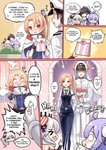 1boy 4girls >_< absurdres azur_lane bag bangs black_hair blush bouquet breasts bride china_dress chinese_clothes chocolate cleveland_(azur_lane) comic commander_(azur_lane) crossdressing double_bun dress embarrassed english_text faceless fingerless_gloves flower gloves grass groom hat heart highres jewelry medium_breasts military military_hat military_uniform multiple_girls open_mouth parted_bangs peeking peeking_out phandit_thirathon ponytail purple_eyes purple_hair red_eyes ring role_reversal side_ponytail silver_hair smile stuffed_animal stuffed_toy takao_(azur_lane) tied_hair unicorn unicorn_(azur_lane) uniform valentine vampire_(azur_lane) wedding