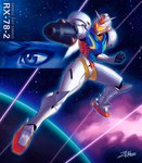 1girl absurdres adapted_costume aiming_at_viewer alternate_costume arm_cannon clenched_hand commentary crossover dated energy_cannon english_commentary gundam helmet highres huge_filesize jetpack mecha metroid planet power_armor rx-78-2 samus_aran science_fiction shooting_star solo space weapon zenkiro