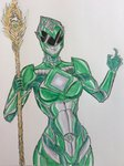 absurdres armor green_ranger helmet highres mighty_morphin_power_rangers muscle muscular_female power_rangers power_rangers_(movie) self_upload sentai source_request staff theultratom tokusatsu traditional_media watercolor_(medium) witch witch_bandora
