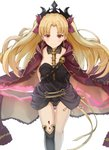 1girl asymmetrical_legwear asymmetrical_sleeves bangs between_breasts black_legwear blonde_hair blush breasts cape closed_mouth detached_collar earrings ereshkigal_(fate/grand_order) fate/grand_order fate_(series) gold_trim highres hoop_earrings infinity jewelry long_hair looking_at_viewer medium_breasts parted_bangs piisu red_cape red_eyes simple_background single_sleeve single_thighhigh skull smile solo spine thighhighs tiara two_side_up white_background