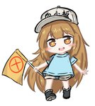 1girl :d bailingxiao_jiu bangs black_footwear blue_shirt blush boots brown_eyes brown_hair brown_shorts character_name chibi clothes_writing commentary_request eyebrows_visible_through_hair flag flat_cap full_body grey_hat hat hataraku_saibou heart heart-shaped_pupils holding holding_flag long_hair open_mouth platelet_(hataraku_saibou) round_teeth shirt short_shorts short_sleeves shorts simple_background smile solo standing symbol-shaped_pupils teeth upper_teeth very_long_hair white_background