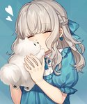 1girl animal blue_background blue_bow blue_dress blush bow braid closed_eyes closed_mouth commentary_request dog dress fingernails grey_hair hair_bow hands_up heart highres holding holding_animal holding_dog karokuchitose long_hair original pomeranian_(dog) puffy_short_sleeves puffy_sleeves short_sleeves solo upper_body