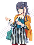 1girl bag blue_eyes blue_hair book cuffs dress highres holding holding_book imai_midori jacket jacket_on_shoulders official_art pantyhose ponkan_8 shirobako side_ponytail smile solo striped vertical-striped_dress vertical_stripes watch wristwatch