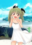 1girl :d absurdres anchovy bangs barashiya blue_sky blush breasts cleavage cloud cloudy_sky collarbone commentary dress drill_hair eyebrows_visible_through_hair girls_und_panzer green_hair hair_ribbon hand_up highres leaning_forward long_hair looking_at_viewer ocean open_mouth ribbon rock sky smile solo standing twin_drills twintails