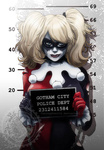 1girl batman_(series) blonde_hair blue_eyes chain dc_comics frills gloves harley_quinn height_chart jay_phenrix lipstick makeup mask mugshot smug solo torn_clothes twintails watermark web_address
