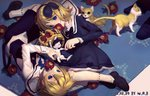 1boy 1girl 2016 artist_name blonde_hair blue_bow blue_dress blue_eyes blue_hairband blue_jacket blue_shorts bow brother_and_sister cat crown dated dress flower flower_in_mouth hair_bow hairband jacket kagamine_len kagamine_rin kitten lying mary_janes mouth_hold on_side pale_skin red_flower sailor_collar shirt shoes short_hair shorts siblings sleeveless_blazer socks twins upside-down vocaloid w.r.b white_shirt