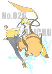 1girl bare_shoulders black_legwear blonde_hair blue_eyes headphones high_heels highres kamitsure_(pokemon) nail_polish pantyhose poke_ball pokemon raichu sora_tokumo