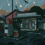 animated animated_gif antennae artist_name blue_sky cracked day gas_pump gas_station highres lamppost no_humans original outdoors pixel_art puddle road scenery shooting_star sky waneella