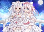 2girls ;d absurdres animal_ear_fluff animal_ears azur_lane bangs blue_eyes bow breasts brown_eyes cat_ears choker cleavage commentary_request detached_collar detached_sleeves dress elbow_gloves eyebrows_visible_through_hair fang flower full_moon garter_straps gloves hair_between_eyes hair_bow hair_flower hair_ornament hammann_(azur_lane) hand_up heart highres holding_hands huge_filesize interlocked_fingers kurashina_yuzuki long_hair looking_at_viewer medium_breasts moon multiple_girls night night_sky one_eye_closed one_side_up open_mouth pink_bow pink_flower pink_rose puffy_short_sleeves puffy_sleeves railing red_ribbon ribbon rose see-through short_sleeves silver_hair skirt_hold sky small_breasts smile standing star_(sky) starry_sky strapless strapless_dress thighhighs tiara veil very_long_hair water white_choker white_dress white_gloves white_legwear yellow_ribbon yukikaze_(azur_lane)