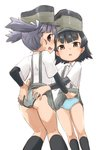 2girls arare_(kantai_collection) arm_warmers assisted_exposure black_hair black_legwear blue_panties brown_eyes commentary_request grey_hair grey_panties grey_skirt hamahara_yoshio hat highres kantai_collection kneehighs looking_at_viewer multiple_girls ooshio_(kantai_collection) panties pleated_skirt polka_dot polka_dot_panties shirt short_hair short_sleeves short_twintails simple_background skirt smokestack standing striped striped_panties suspender_skirt suspenders twintails underwear white_background white_shirt