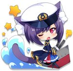 1girl animal_ears antenna_(azur_lane) azur_lane belt black_hair black_legwear blue_skirt blush cat_ears cat_tail character_request chibi eyebrows_visible_through_hair long_sleeves looking_at_viewer meowficer_(azur_lane) multicolored multicolored_clothes multicolored_skirt muuran official_art one_eye_closed open_mouth pantyhose pink_eyes red_skirt skirt solo star tail transparent_background white_headwear