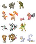 akai_(ugokashitari) alternate_form animalization beak centaur child commentary_request conjoined dewgong dodrio doduo extra_arms extra_heads fangs farfetch'd fins full_body geodude golem_(pokemon) graveler harpy horn magnemite magnet magneton monster_girl no_humans personification pixel_art pokemon ponyta rapidash rock seel shellder slowbro slowpoke spring_onion standing talons teeth transparent_background