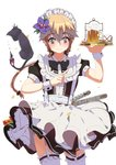 1girl alcohol androgynous apron arm_up bangs beer beer_mug black_bow black_cat black_dress black_neckwear black_ribbon blush bow bowtie brown_eyes brown_hair cake cat character_request closed_mouth commentary_request cowboy_shot cupcake dress eyebrows_visible_through_hair fang floating_hair flower foam food garter_straps garters hair_between_eyes hair_bobbles hair_flower hair_ornament hair_ribbon hand_up heart highres holding holding_tray index_finger_raised long_hair looking_down lucky_(1045044604) maid maid_headdress ponytail purple_flower ribbon short_sleeves simple_background smile standing star thighhighs tray white_apron white_background white_legwear wrist_cuffs