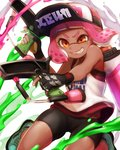 1girl bangs baseball_cap basketball_jersey bike_shorts black_gloves black_headwear black_shorts blunt_bangs commentary dark_skin domino_mask fingerless_gloves gloves green_footwear grin hat highres ink_tank_(splatoon) inkling jumping logo looking_at_viewer mask mimimi_(echonolog) orange_eyes paint_splatter pink_hair pointy_ears sharp_teeth shirt shoes short_hair shorts smile solo splat_dualies_(splatoon) splatoon_(series) splatoon_2 standing teeth tentacle_hair v-shaped_eyebrows white_background white_shirt