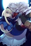 2girls apron blonde_hair blue_scarf blush boots brown_footwear carrying cis05 closed_eyes closed_mouth commentary_request eyebrows_visible_through_hair fang fate/grand_order fate_(series) flower golem green_eyes hair_between_eyes hat long_hair lord_el-melloi_ii_case_files maid maid_headdress mini_hat moon multiple_girls night night_sky open_eyes pantyhose princess_carry red_ribbon reines_el-melloi_archisorte ribbon scarf sky teeth trimmau volumen_hydragyrum