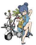 1girl backpack bag blue_eyes blue_hair blush_stickers china_dress chinese_clothes double_bun dress ground_vehicle gun heavy_machine_gun highres leg_up machine_gun motor_vehicle open_mouth original panda pointing pose scooter standing standing_on_one_leg weapon white_background yukimoto_shuuji_(gurigura)