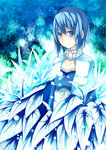 1girl armband blue_eyes blue_hair cape collarbone highres magical_girl mahou_shoujo_madoka_magica miki_sayaka plant short_hair solo soudayu