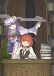 2girls alternate_hair_length alternate_hairstyle bangs bat_wings blunt_bangs book book_hug book_stack bookshelf capelet collared_shirt crescent crescent_moon_pin cup desk door dress dress_shirt eyelashes foresty frown hair_ribbon hat head_wings highres holding holding_book inkwell koakuma leaning_to_the_side library long_hair long_sleeves mob_cap multiple_girls necktie one_eye_closed open_book open_door patchouli_knowledge plant potted_plant purple_dress purple_eyes purple_hair quill red_eyes red_hair red_necktie ribbon role_reversal shirt short_hair sitting smile standing steam striped striped_dress teacup touhou tress_ribbon very_long_hair vest voile white_shirt wide_sleeves wings writing