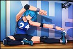 1girl 2018 absurdres arm_up armpits bangs bare_shoulders blue_footwear blue_hair blue_shirt blue_shorts breasts closed_mouth collarbone commentary dated elbow_pads eyebrows eyebrows_visible_through_hair full_body gigle highres indoors knee_pads medium_breasts on_floor original shadow shirt shoes short_hair shorts signature sitting sneakers solo sportswear stretch sweatband symbol-shaped_pupils tank_top track track_and_field track_uniform wooden_floor