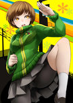 1girl bike_shorts breasts brown_hair fighting_stance green_jacket highres jacket leg_up nemu_(nebusokugimi) open_mouth persona persona_4 satonaka_chie short_hair skirt solo tomboy track_jacket