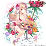 1girl apple bird blonde_hair blueberry bow bubble chair conch dessert earrings flower food fruit grapes hair_flower hair_ornament head_wreath hibiscus hibiscus_print ice_cream_scoop jewelry mango melon necklace official_art orange orange_slice palm_tree pancake parrot pink_eyes plumeria purple_bow sandals shell sitting solo spoon starfish swimsuit table tree tropical_drink twintails uchi_no_hime-sama_ga_ichiban_kawaii valletta_ribbon wasabi_(sekai)