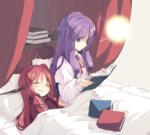 2girls alternate_costume blanket blush book book_stack capelet closed_eyes curtains head_wings koakuma light long_sleeves looking_down lying multiple_girls no_hat on_bed on_side open_book open_mouth patchouli_knowledge pillow profile purple_eyes purple_hair reading satou_kibi sitting sleeping touhou track_suit wide_sleeves
