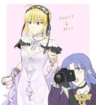 2girls ahoge artoria_pendragon_(all) black_gloves black_ribbon blonde_hair blue_eyes blue_hair blush camera caster choker commentary_request cosplay directional_arrow dress ear_wiggle fate/grand_order fate/hollow_ataraxia fate/stay_night fate_(series) gils3105 gloves green_eyes hairband highres holding holding_camera jewelry lolita_hairband long_hair long_sleeves multiple_girls navel open_mouth panties pointy_ears purple_panties revealing_clothes ribbon saber see-through short_hair stheno stheno_(cosplay) sweatdrop translated underwear white_dress white_ribbon